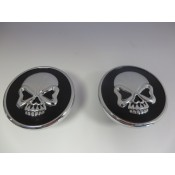 Chrome Skull Gas Cap Set, Gloss Black