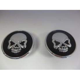 Chrome Skull Gas Cap Set, Gloss Black