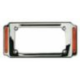 LICENSE PLATE FRAME WITH AMBER LENS LIGHTS, CHROME PLATED