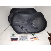 NEW Blemished - 08 later XL Saddlebags - Leather with all hardware - small tear on top ridge of left bag - OEM 90184-08/90193-08 - ID 1736