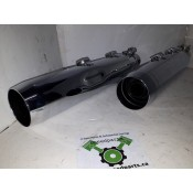 USED - Never installed XL Chrome Mufflers with black shields - OEM 64900409/10 - ID 1786