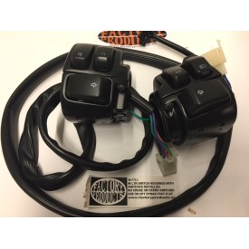 BLACK SWITCH HOUSING AND SWITCH KIT WITH BLACK SWITCHES FITS XL, DYNA, SOFTAIL 1996 LATER