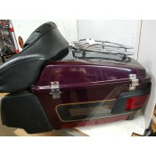USED - 96-2008 FLH Tourpack with chrome luggage top rail, speaker pods, back rest - OEM 53212-96 - ID 2235