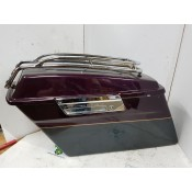 USED - 96-2008 FLH Saddlebags with V logo top rails - ID 2236