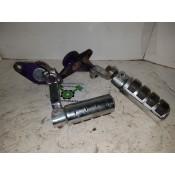 USED - 1980 FLH Shovel - Swingarm Bushing caps - Passenger footrest - pair - OEM 50584-79B/50585-79B - ID 2345