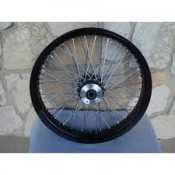 26 X 3.5 DUAL DISC, 60 SPOKE FRONT WHEEL, BLACK HUB, BLACK RIM, STAINLESS STEEL SPOKES