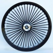 KING SPOKE WHEEL, 21 X 2.15,  BLACK & CHROME , FRONT, SINGLE DISC
