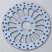 "Factory Products, 11.8"" Polished Front Spoke Brake Rotor."