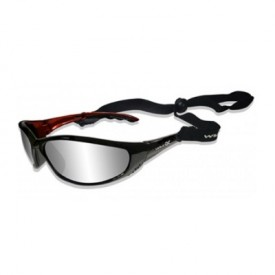 Wiley X, P-23NP. Gloss Black Sunglasses W/ Silver Lens.