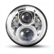 7 Inch Chrome LED Headlights Bat Wing Faring Head Lights.
